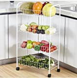 #2: HOME CUBE® 4 Tier Vegetable Fruit Rack Wheels White Storage Trolley Stand Shelf