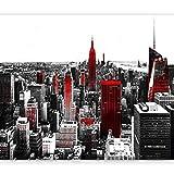 murando - Fototapete 350x256 cm - Vlies Tapete - Moderne Wanddeko - Design Tapete - Wandtapete - Wand Dekoration - New York Rot Grau 10110904-61