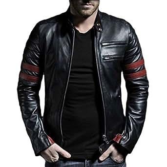 V4M Men's Red Stripe Genuine Real Leather Jacket (S)