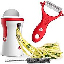Vremi Rebanadora y espiralizadora para Vegetales - Set de Espiralizadora y pelador portatil - El rebanadora manual en espiral de 3 cuchillas para hacer Espaguetti de Zucchini o manzana - rojo y blanco