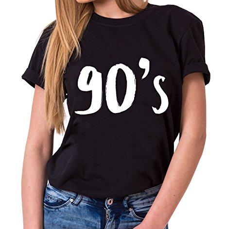 90´s Trendiges Damen T-Shirt Girlie Kurzarm Baumwolle mit Druck, Farbe:Schwarz;Größe:M (Givenchy-t-shirt Frauen)