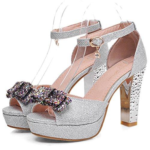 Cuckoo Damen Peep Toe Sandalen Kn?chelriemen -Sommer-Sandelholz-Schuhe mit 9cm Heel Silber