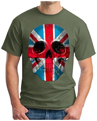 OM3 - UNION-JACK-SKULL - T-Shirt, S - 5XL Oliv