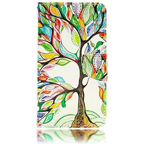 delightable24 Cover Protettiva Bookstyle Flip Case per SAMSUNG GALAXY NOTE 4 Smartphone - Tree Of Colors Edition