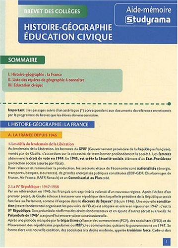 Brevet des collèges Histoire-Géographie Education civique
