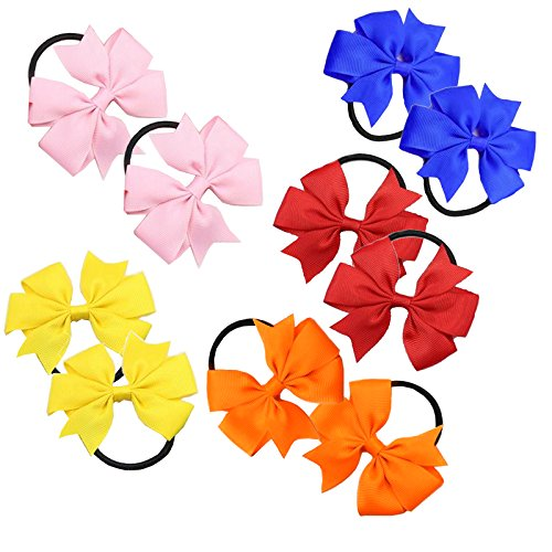 2 x 'Flat Fan' Bow Hair Bobbles | Hair Elastic | School Hair | Ribbon Bow