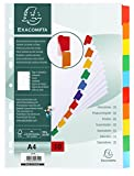 Exacompta 948231 Intercalaires Carte A4 10 positions avec onglets Blanc/Couleurs Assorties