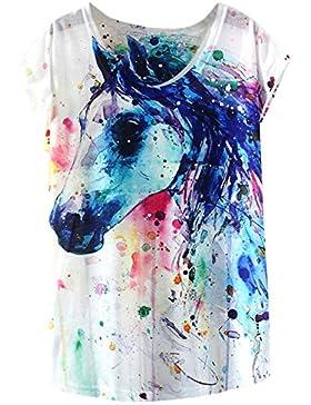 futurino mujeres sueño misterioso caballo impresión de manga corta Tops Casual Tee, Blanco, talla única