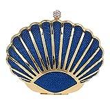 Sac de soirée de Femmes, Caisse Dure de Cadre en métal avec Embrayage de Courroie en chaîne pour la fête de Mariage (coloré : Bleu, Taille : 15x11x6cm(6x4x2inch))