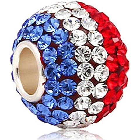 Soulbead Charm di alta qualità, gennaio-dicembre pietra scintillante cristallo austriaco rotondo in argento Sterling 925, per gioielli braccialetto stile europeo USA Flag - Cristallo Gennaio Charm