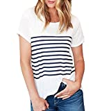 tefamore Femmes Manches Courtes Fashion Tops Block Stripe T-Shirt Casual Blouse (XL, Blanc)
