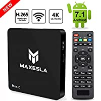 TV Box Android 7.1 Newest - Maxesla MAX-C Smart TV Box with 1GB RAM + 8GB ROM, Upgrade Amlogic S905W Chipset, True 4K UHD Playing, Support H.265 Video Decoder, 2.4GHz Wifi TV Box with Remote Control