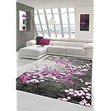 Alfombra contemporánea, pelo corto gris blanco rosado púrpura (Traumteppich) Größe 200 x 290 cm