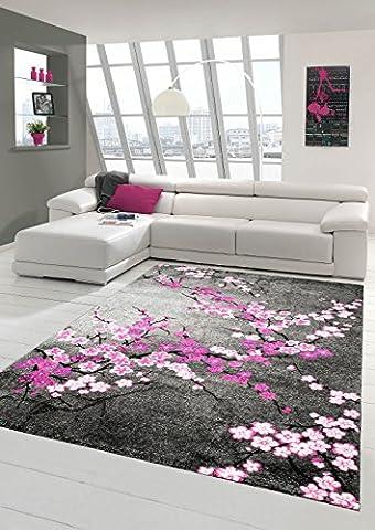 Designer Teppich Moderner Teppich Wohnzimmer Teppich Blumenmuster Grau Lila Pink Weiss Rosa Größe 80x150