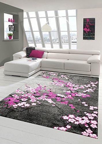 Designer Teppich Moderner Teppich Wohnzimmer Teppich Blumenmuster Grau Lila Pink Weiss Rosa