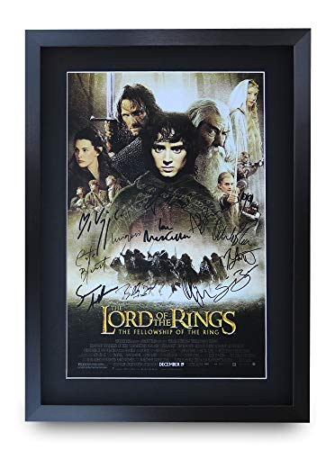 HWC Trading Lord of The Rings The Fellowship of The Ring A3 Gerahmte Signiert Gedruckt Autogramme Bild Druck-Fotoanzeige Geschenk Für Filmfans - Der Poster Herr Gerahmte Ringe