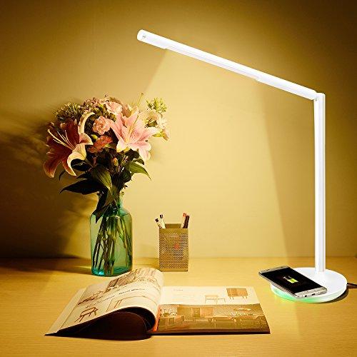 Preisvergleich Produktbild Liqoo® dimmbare LED Schreibtischlampe Tischleuchte 6W 3 Lichtmodi ( Warmweiß,  Tageslichtsweiß,  Kaltweiß ) Touchfeldbedienung mit QI Charger für Aufladung des Smartphones