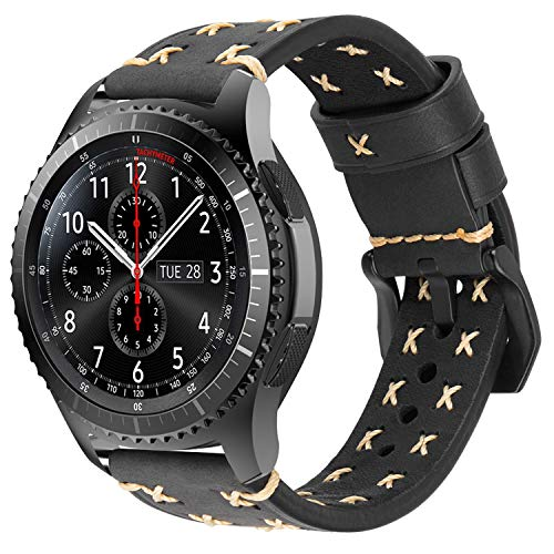 Gear S3 Strap Leather, iBazal Gear S3 Frontier/Classic Watch Band Wristbands 22mm Compatible with Samsung Galaxy 46mm SM-R805/SM-R800,Huawei GT/Honor Magic/2 Classic,Ticwatch Pro,Moto 46mm - Black