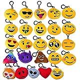 "Mini Emoji Keychain,BCMRUN 2"" Lovely Emoji Plush Pillows Emoticon Key Ring Soft Party Bag Filler Toy (25Pack)"