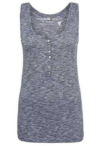 Eight2Nine Damen Basic Tank-Top | Meliertes Shirt ärmellos mit Knopfleiste Dark-Blue