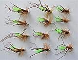 Arc fishing flies - Nymph Buzzers Daddy Angelköder für Forellenangeln, Lange Beine, Hakengröße 10, 12 und 14 x 12 Fliegen – Set Daddies G.H