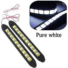 Eximtrade 2 Piezas Impermeable Flexible Silicona Luz 16W 4000LM COB LED DRL Conducción Luces Diurna Faros Antiniebla Lámpara para Auto Coche SUV Sedán Coupe Vehículo (Blanco)