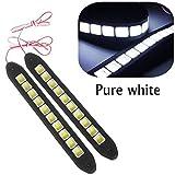 Eximtrade 2 Pièces Imperméable Flexible Silicone Lumière 16W 4000LM COB LED DRL Lumières Feux de Jour Lampe pour Auto Voiture SUV Berline Camion Coupé Véhicule (Blanc)