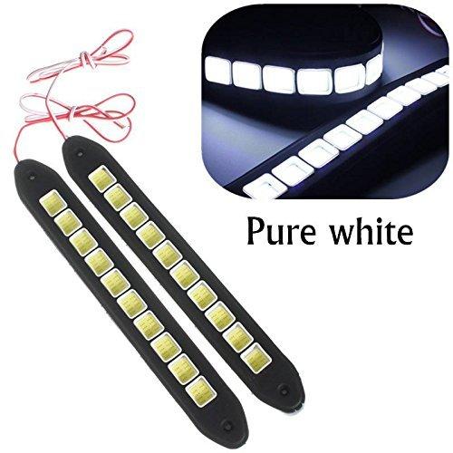 Preisvergleich Produktbild Eximtrade 2 Stücke Wasserdicht Flexibel Silikon Licht 16W 4000LM COB LED DRL Tageslicht Fahren Tagfahrlicht DRL Lampe für Auto SUV Sedan Limousine Coupe Fahrzeug (Weiß)