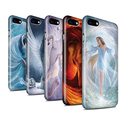 Officiel Elena Dudina Coque / Clipser Brillant Etui pour Apple iPhone 8 / Tombé Design / Fantaisie Ange Collection Pack 5pcs