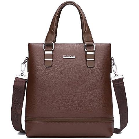 TECOOL Men's Grain Leather Briefcase Business Messenger Bag Vintage Shoulder