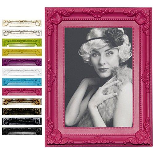 Bilderrahmen Fotogalerie #51 , Kunststoff Rahmen , Glas Vorderseite , Antik Barock , zum Aufstellen im Querformat und Hochformat , 12 Farben...
