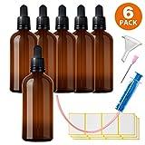 6x100ml Flaconi Bottiglie in Vetro Contagocce - compreso 16 accessori parti