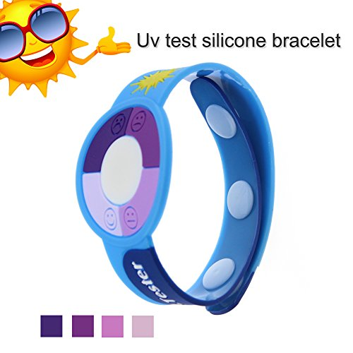WEMELODY UV Sun Strength Warning Monitor/Detector & Safety Identification Wrist Band - Protect and care for your family's skin against Sunburn - Baby Child Sense Wristbands Meter Watch Ultraviolet Rays Sensor Indicator Detector Color Changing Test