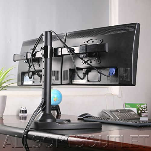 DUAL DOUBLE TWIN 2 TWO LCD LED TFT COMPUTER MONITOR FREESTANDING DESK STAND MOUNT HEAVY DUTY FULLY ADJUSTABLE CURVED ARM FOR 2 / TWO SCREENS 15-28 INCHES