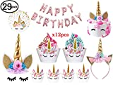 Joyhill (29 Pack Inluded Balloon Banner) Unicorn Cake Topper with Eyelashes, Headband, Cupcake Wrappers and Happy Birthday Banner for Birthday Party, Baby Shower, Kids Party Decoration