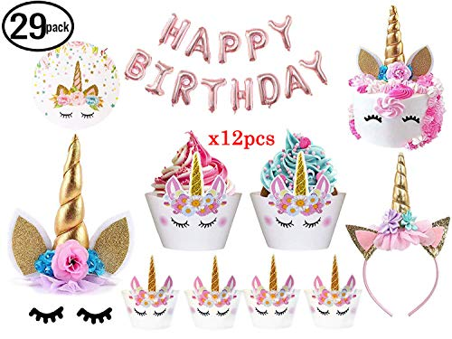 JOYHILL Einhorn Party Geburtstagsdeko Einhorn Kuchen Topper mit Wimpern, Stirnband, Cupcake Wrappers und Happy Birthday Ballon Unicorn Party Supplies Geburtstagsfeier Kids Party Dekoration (29 Pack)