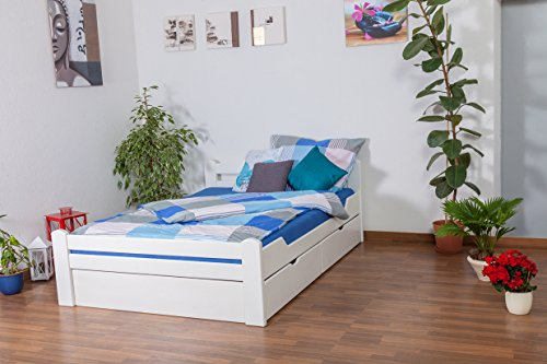 """Jugendbett\""""Easy Premium Line\"""" K4, inkl. 2 Schubladen und 1 Abdeckblende, 140 x 200 cm Buche Vollholz massiv weiß lackiert"""