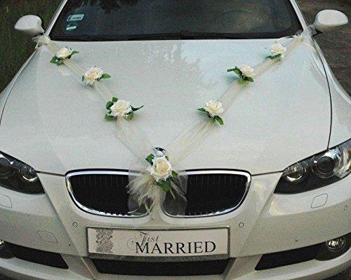 Organza M Auto Schmuck Braut Paar Rose Deko Dekoration Hochzeit Car Auto Wedding Deko Girlande PKW (Ecru/Ecru)