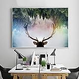 tzxdbh Elch Tiere Leinwand Kunst Malerei Nordischen Wald Landschaft Wandkunst Bild Für Wohnzimmer Wohnkultur Kein Gestaltet