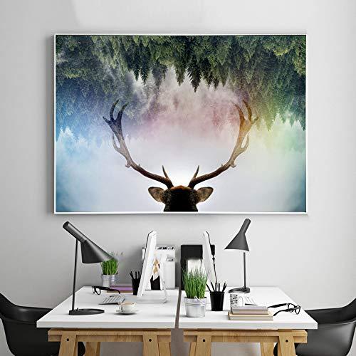 tzxdbh Animaux Wapiti Toile Art Peinture Forêt Nordique Paysage Mur Art Photo pour Le Salon Home Decor Non Encadrée