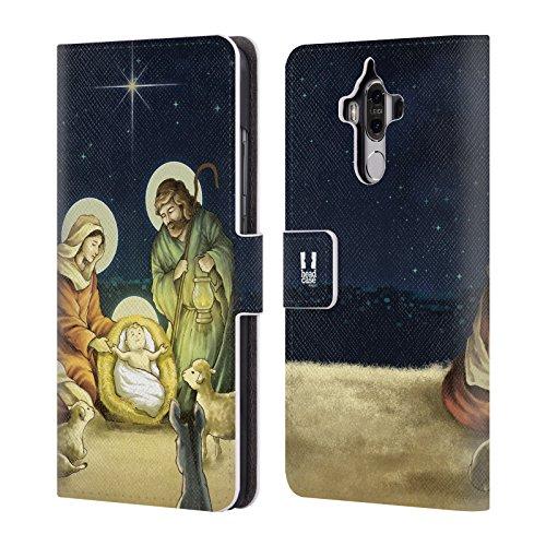 Designs Krippe (Head Case Designs Krippe Weinachten Krippe Brieftasche Handyhülle aus Leder für Huawei Mate 9)