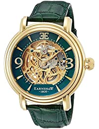 EarnShaw Men's 48mm Green Leather Band Steel Case Automatic Watch ES-8011-09