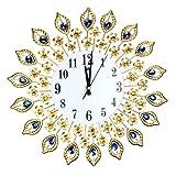 Wanduhr Große Wanduhr Luxus Pfau Diamant Wanduhren Metall Wohnzimmer Digital Nadel Wand Dekoration Uhr , A , diameter 38cm