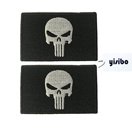 Yisibo Taktische Aufnäher 2 Stück Bestickte Moral Militär Taktische Fastener Patch Punisher Patch Schwarz (Abzeichen Patch Uniform)