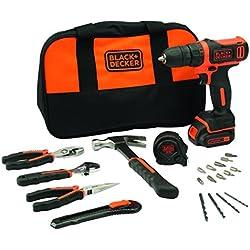 BLACK+DECKER BDCDD12HTSA-QW Perceuse visseuse sans fil - Chargeur inclus - 14 accessoires et 6 outils à main - Livrée avec un sac souple, 10.8V, Sac souple, 1 batterie