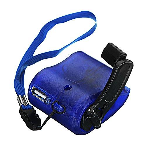 KUNSE USB Hand Kurbel Power Generator Notfall Digitalanzeige Handy Ladegerät Bedienungsanleitung Schütteln Ladegerät Blau -