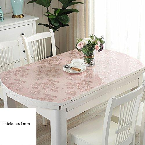 Ovale Tischdecken, PVC-Tischdecke Soft Glass Mat Tischdecke Table Top Protector Kunststoff Tischdecke, Faltbare Teleskoptisch Wasserdicht...