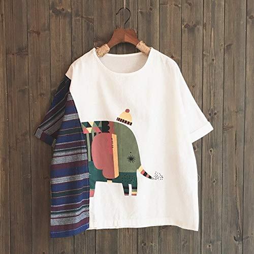 ljradj banxiu Camiseta de Manga Corta Suelta con Estampado de Elefante y Costuras a Rayas 1