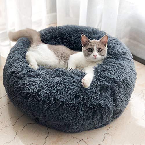 Lamzoom - Deluxe-Haustierbett für Katzen und kleine bis mittelgroße Hunde. Kuschelig mit weichem Kissen. Rund oder oval Nisthöhle/Bett für Haustiere (Katzen und kleine Hunde) in Doughnut-Form.