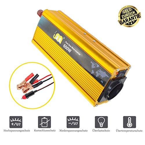 CIDEARY 600W Wechselrichter 12V auf 230V Reiner Sinus Wechselrichter AC Converter mit USB Port für Haus Oder KFZ (Gold, 600w Sinus Wechselrichter)